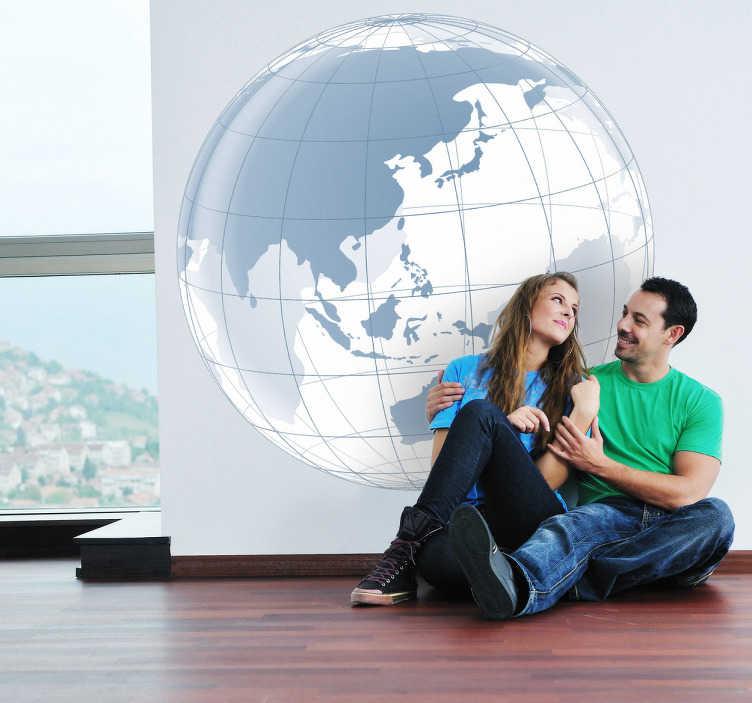 TenStickers. Naklejka Ocean Spokojny. Naklejka dekoracyjna przedstawiająca transparentną kulę ziemską z widokiem na część Azji i Ocean Spokojny.