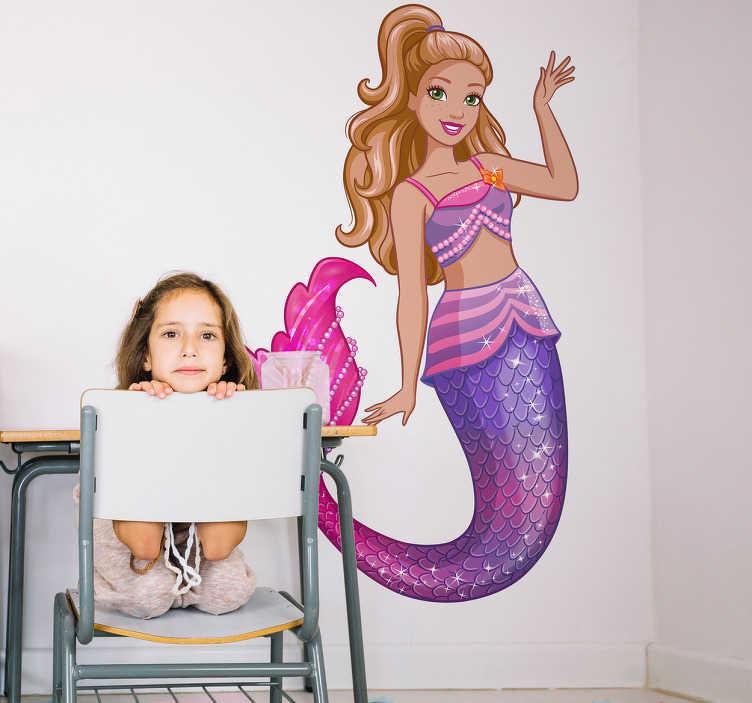 Adesivo de parede infantil Barbie Sereia