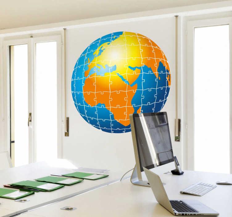 TenStickers. Autocollant mural globe puzzles. Stickers mural représentant un globe terrestre réalisé à partir de pièces de puzzle.Idée déco pour le salon ou l'intérieur d'une entreprise.
