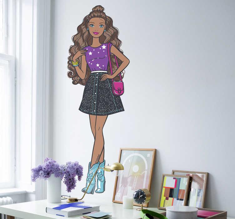 Pegatina black Barbie fashionista