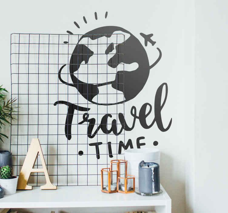 TenStickers. Autocollant mural globe tour du monde. Stickers mural représentant un globe terrestre contourné par un avion de voyage.Idée déco pour le salon ou l'intérieur d'une entreprise.