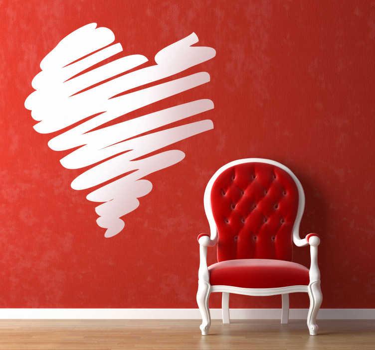 Sticker gekribbeld hart valentijn