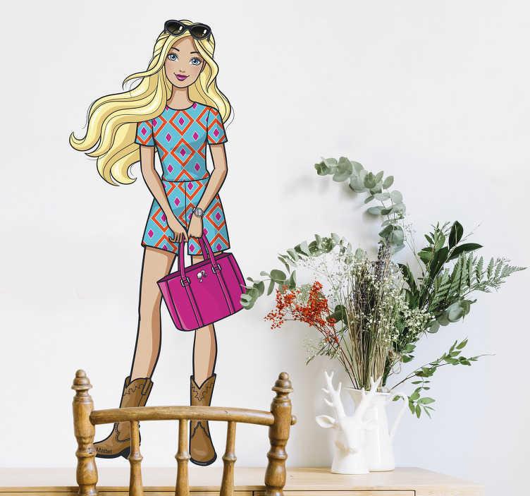 Vinilo decorativo Barbie rubia