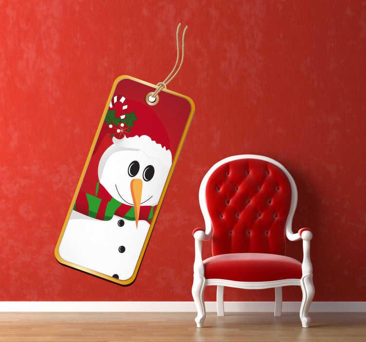 TenStickers. Naklejka etykietka bałwan. Naklejka przedstawiająca etykietkę z sympatycznym bałwanem, którym możesz ozdobić dom na nadchodzące święta Bożego Narodzenia.