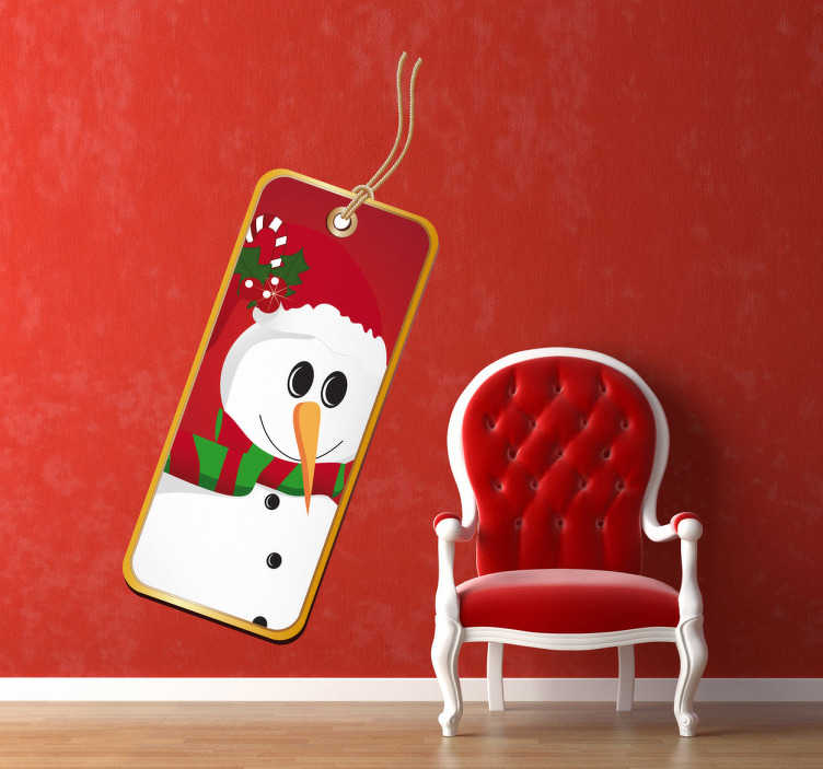 TenStickers. 눈사람 라벨 스티커. 비즈니스 스티커-눈사람 레이블 태그. 이 디자인으로 크리스마스 정신을 향상 시키십시오. 비즈니스 및 조직에 이상적입니다.