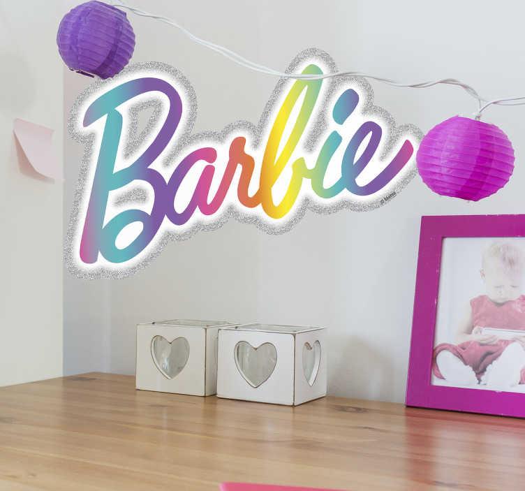 Pegatinas Barbie logo arcoíris