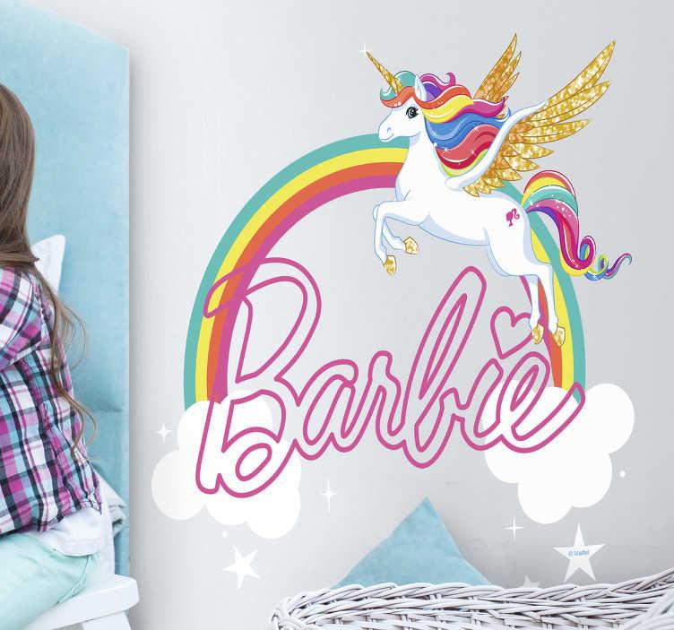 Sticker Barbie unicornio arcoíris