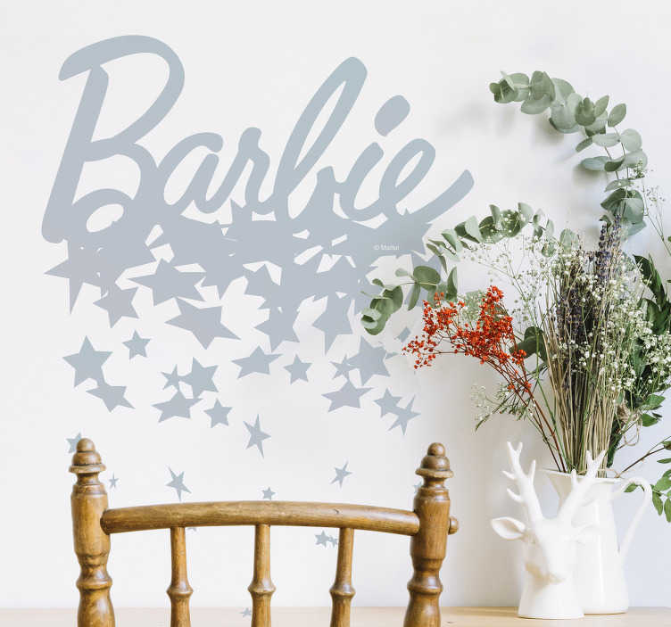 Autocolante de parede Barbie e estrelas