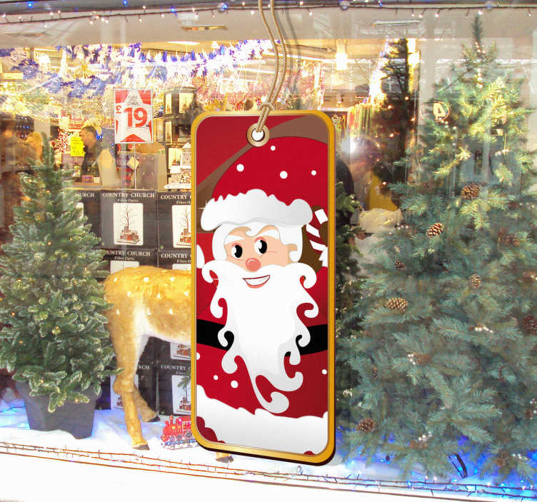 TenStickers. Naklejka etykietka święty Mikołaj. Ładna etykieta przedstawiająca świętego Mikołaja do ozdoby Twojego sklepu na nadzchodzące świąeta Bożego Narodzenia.