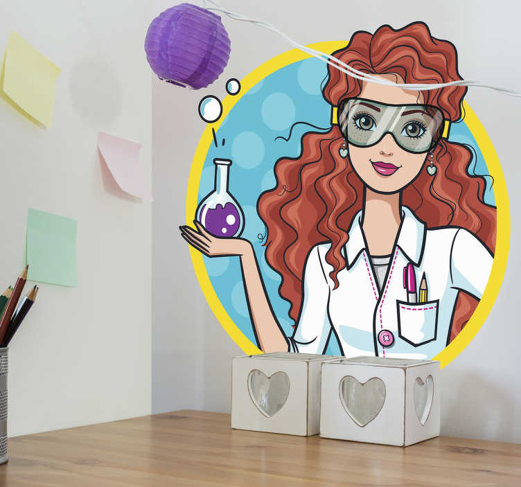 Pegatinas Barbie profesión ciencia