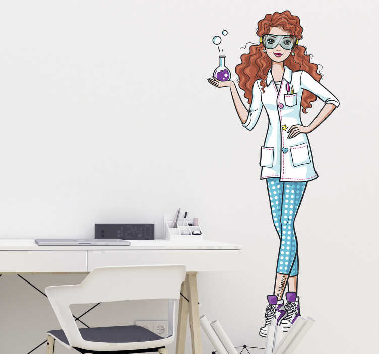 Sticker Barbie científica