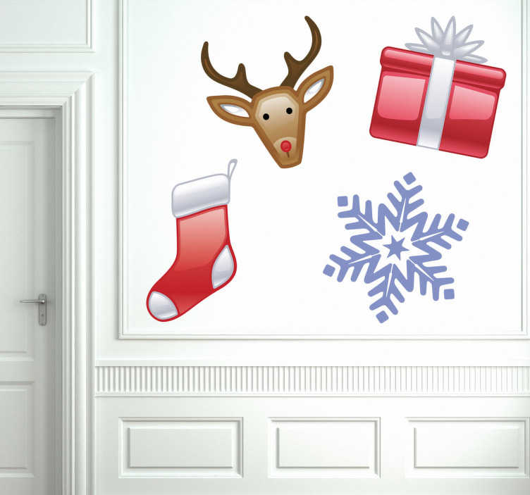 TenStickers. Sticker kerst sneeuwvlok hert sok cadeau. Leuke kerststicker met Rudolph the rednose rendeer, een kerst sok, een sneeuwvlok en een mooi ingepakte cadeau met een mooie strik.