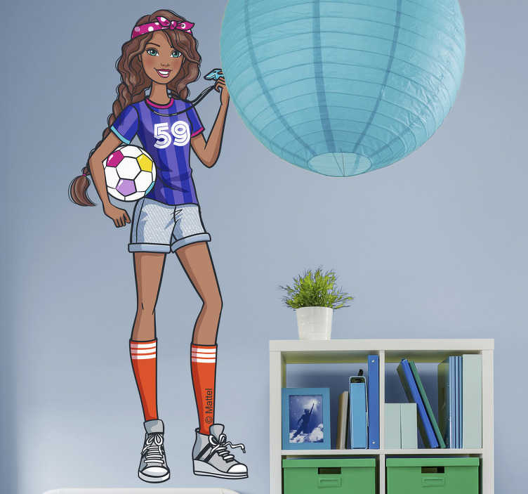 Vinilo decorativo Barbie futbolista