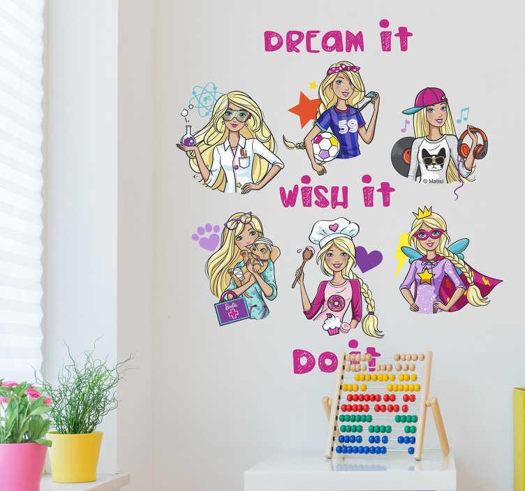 Autocolantes parede Barbie ''tu podes''