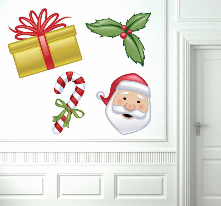 TenStickers. Sticker decorativo collezione Natale 2. Set di adesivi decorativi che raffigurano quattro elementi chiave del Natale: il regalo, il dolce, il vischio e Babbo Natale. Ideale per decorare in tema con le feste.