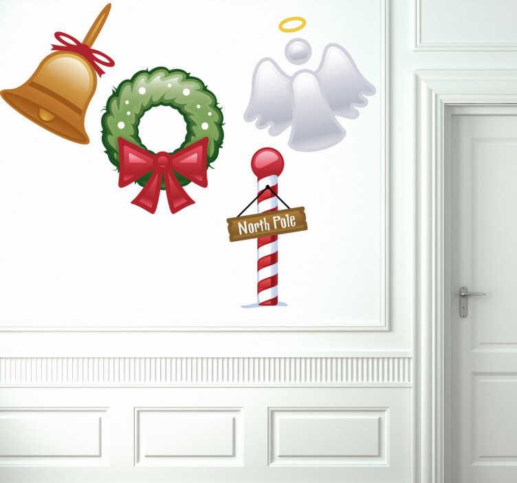 TenStickers. Naklejka cztery naklejki na święta. Kombinacja naklejek dekoracyjnych z motywami świątecznymi.