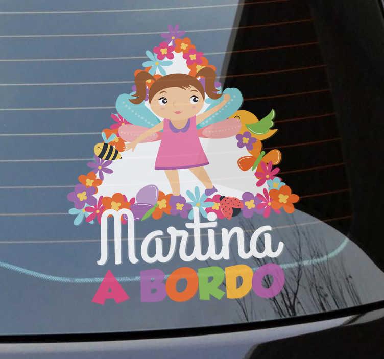 TenVinilo. Pegatina coche niña a bordo primavera. Adhesivos bebé a bordo inspirados en la época primaveral con el dibujo de una niña hada y una señal con bordes floreados.