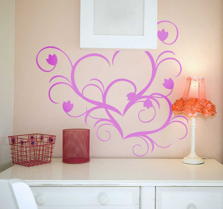 TenStickers. Heart Shape Floral Wall Sticker. An illustration of two hearts interlocked with each other from our creative collection of heart stickers to decorate any space at home!