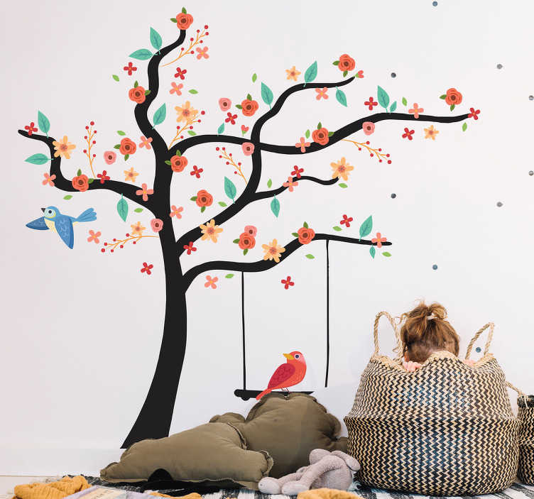 TenStickers. Spring tree tree wall decal. Decorative tree plant with spring flowers wall sticker for home decoration. It is easy to apply on flat surface and it can be purchased in any size.