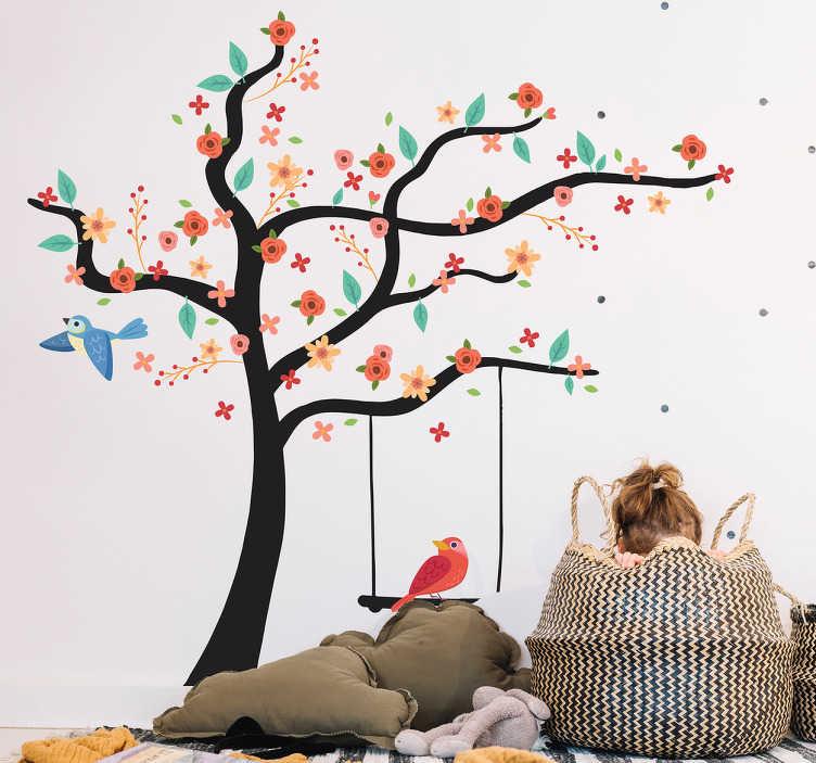TenVinilo. Vinilo árbol de Primavera. Vinilo decorativo con el dibujo de un florido árbol con columpio y dos lindos pájaros revoloteando, este diseño es muy versátil.