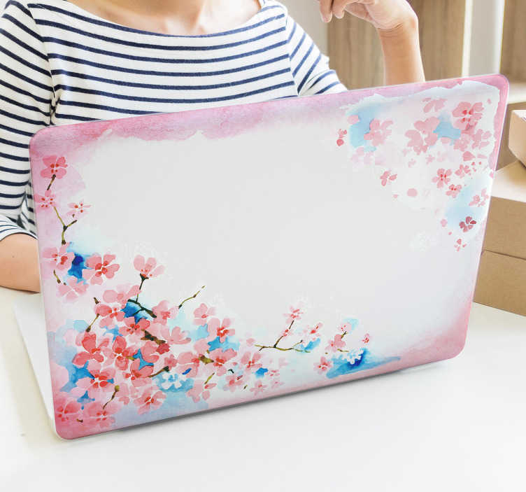 TenVinilo. Vinilo Cerezo de Primavera. Pegatinas para portátil con un precioso dibujo tipo acuarela con ramas de cerezo en flor, diseños inspirados en la naturaleza oriental.
