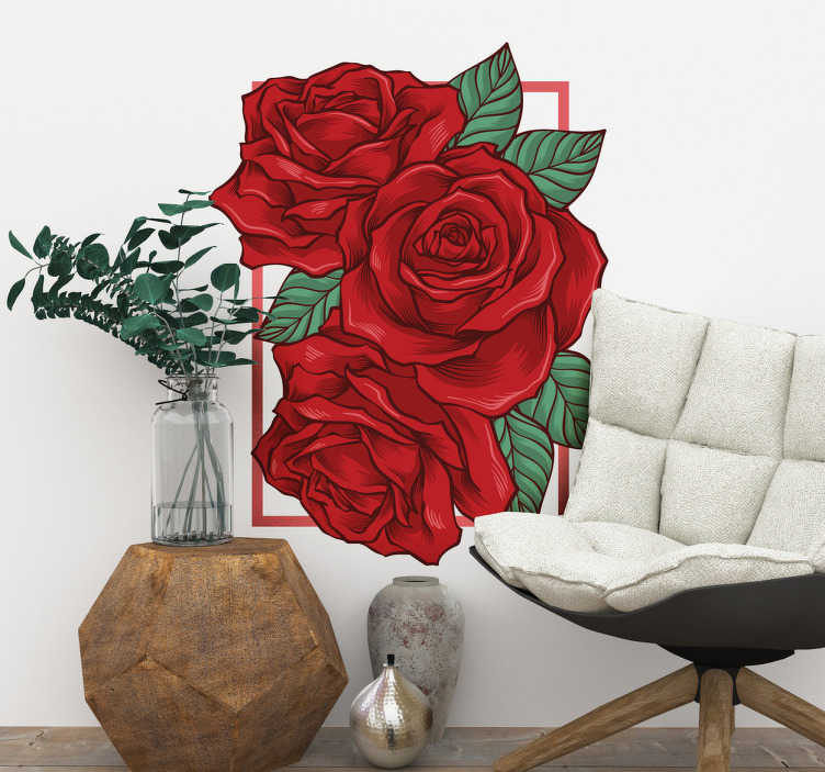 TenVinilo. Vinilo decorativo marco rosas rojas. Murales decorativos adhesivos con un espectacular dibujo de tres rosas, un diseño muy versátil que mezcla lo clásico con un estilo actual y moderno.