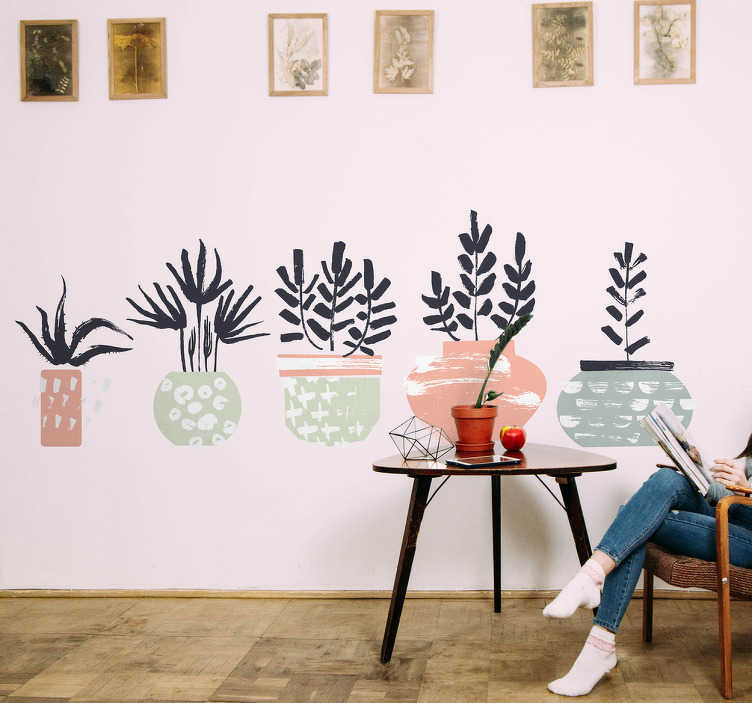 TenStickers. Calligraphy plants wall decal. Decorative plant wall art sticker for home and office space decoration.The design is featured with plants in pots and it is available in any size.