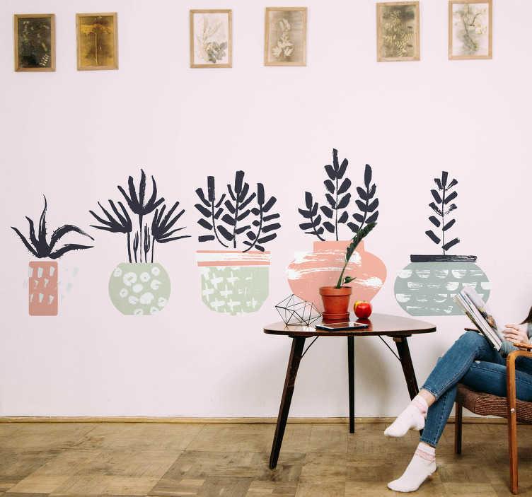 TenStickers. Naklejka na ścianę pięć doniczek z roślinami. Nowoczesny i elegancki wzór, przedstawiający pięć doniczek z różnymi roślinkami. Naklejka ścienna inspirowana jest orientalną kulturą. Odmień wygląd salonu czy sypialni z tą delikatną dekoracją ścienną! Wyprzedaż się kończy – nie czekaj, zamów taniej teraz!