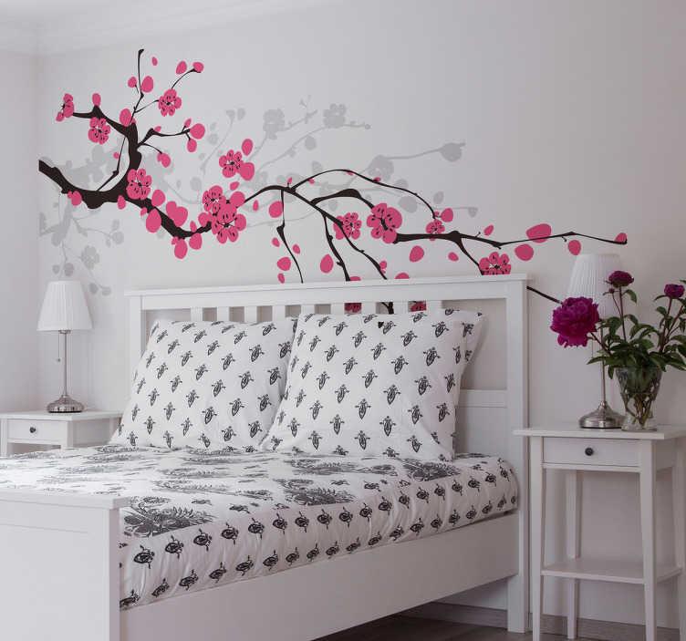 TenVinilo. Vinilo flor de cerezo Primavera. Vinilos decorativos florales con el dibujo de una florida rama de cerezo japonés, un diseño elegante.
