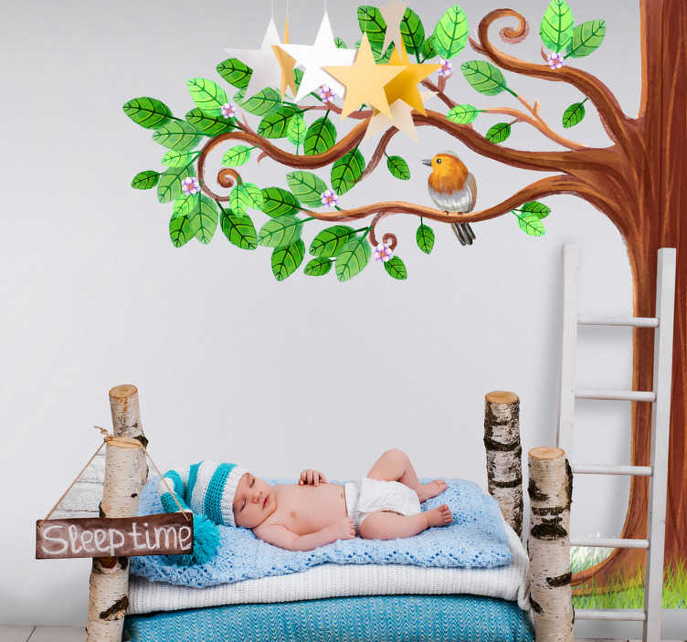 TenStickers. Spring tree wall decal. Decorative tree with birds wall art sticker to decorate the bedroom of children. It is easy to apply and self adhesive..