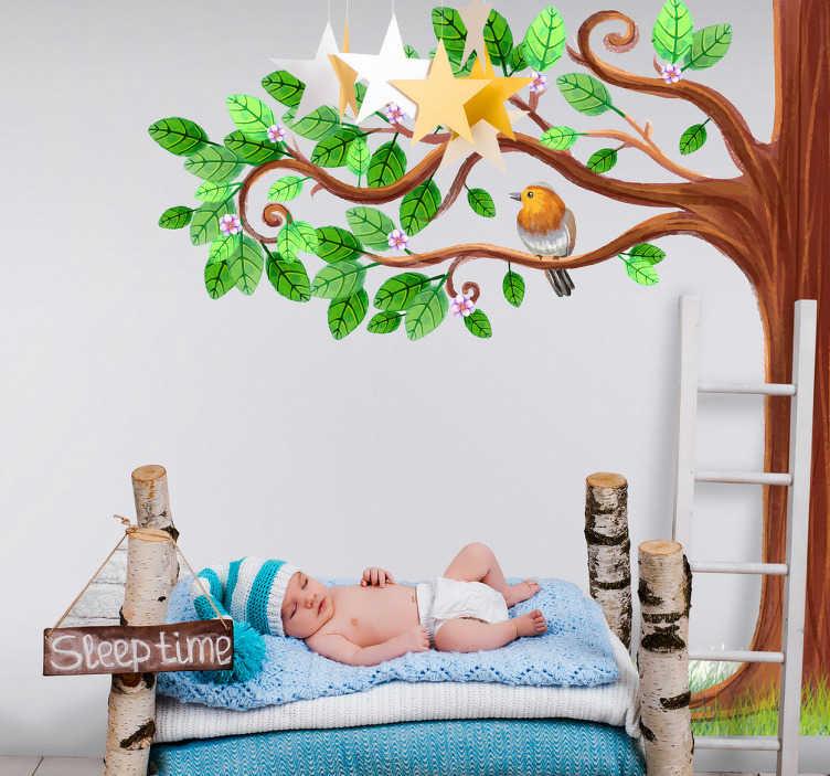 TenVinilo. Vinilo infantil primavera árbol. Murales decorativos en vinilo con un espectacular dibujo de un robusto árbol y un pájaro posado en una de sus ramas.