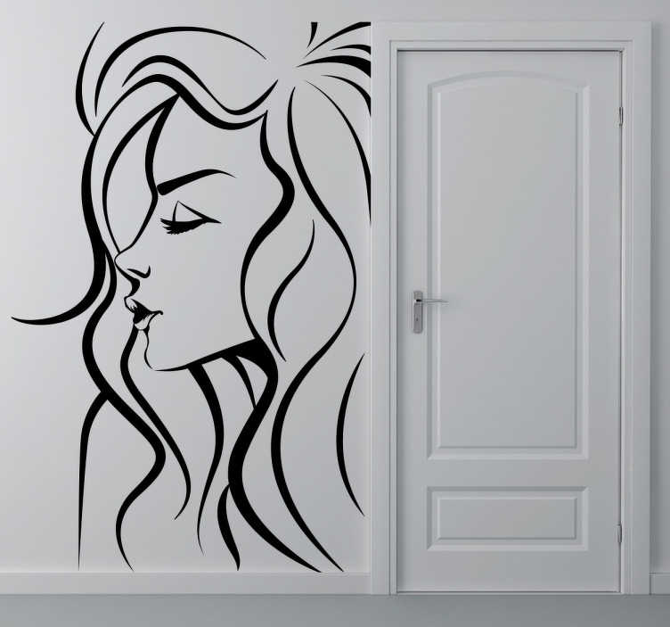 TenVinilo. Vinilo decorativo mujer. Vinilo decorativo de perfil femenino. Adhesivo de la silueta de una mujer para la decoración de un salón con estilo. Puedes elegir el color de vinilo que más te guste.