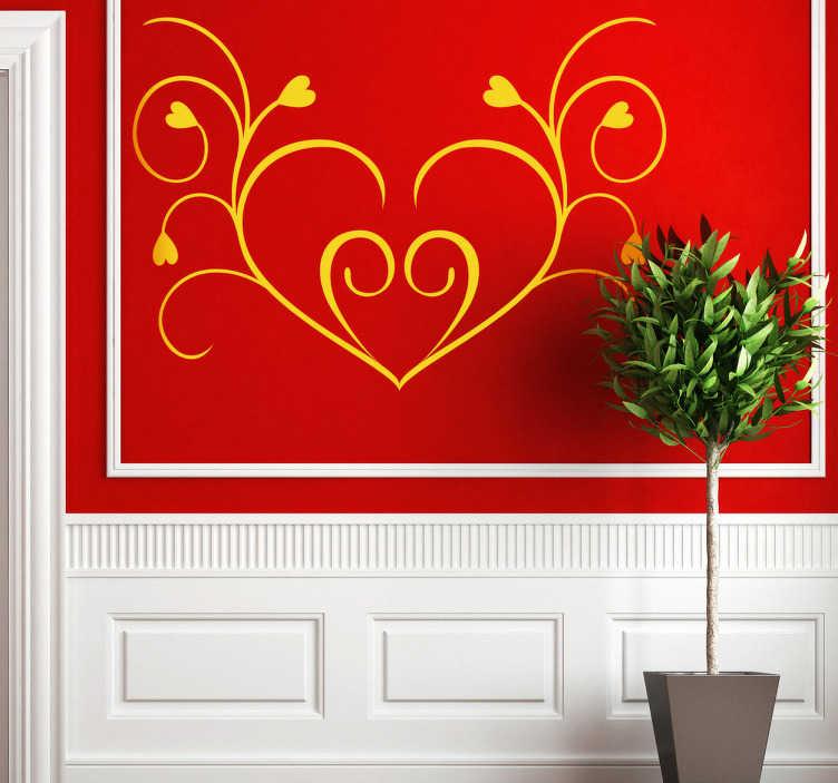 Symmetrical Floral Heart Wall Sticker - TenStickers