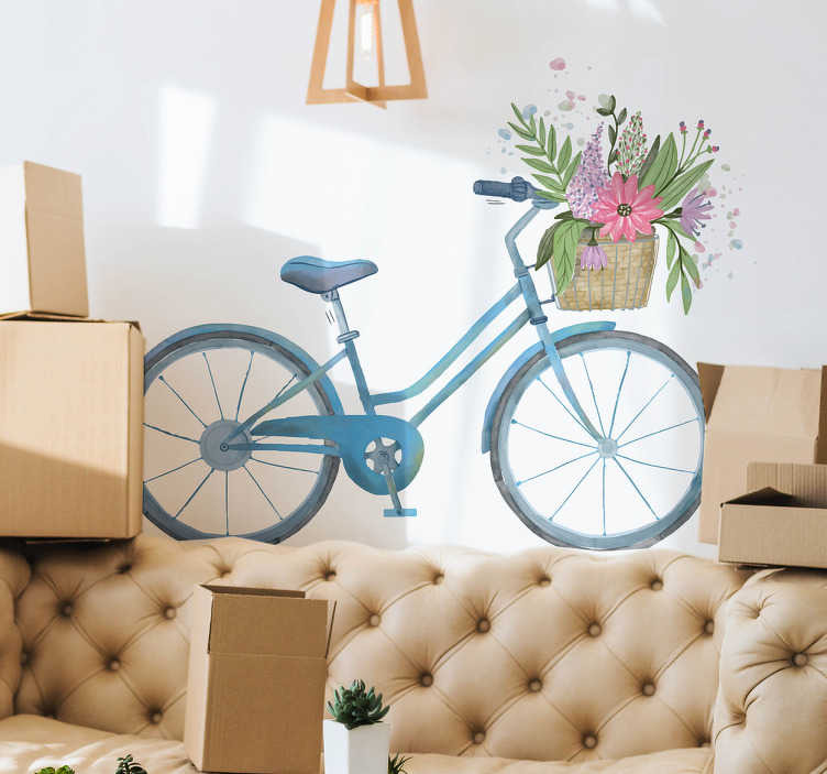 TenStickers. Spring bike flower wall decal. Cycling bike with spring flower wall sticker to decorate any space of choice. It is available in any desired size and easy to apply.