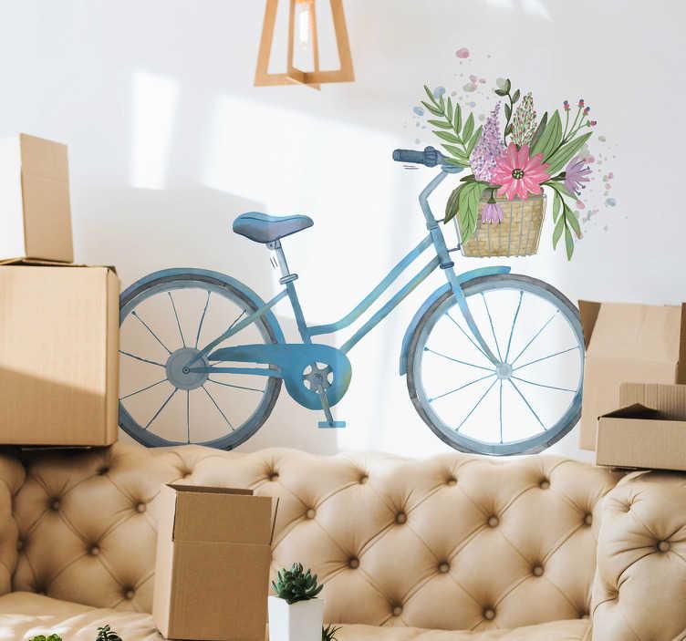 TenStickers. Muursticker fiets bloemen mand. Met deze vrolijke muursticker van een blauwe fiets en fleurige bloemenmand zal de kamer meteen opvrolijken. Dagelijkse kortingen.