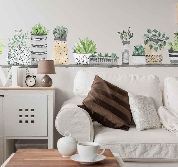 TenVinilo. Vinilo pared estantería plantas. Vinilos pared con un dibujo de un alargado estante con una variada gama de macetas, una ilustración ideal para decorar tu salón o comedor.