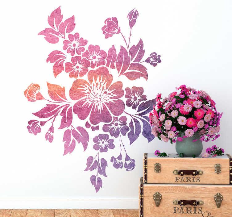 TenVinilo. Vinilo Primavera floreciendo. Vinilo ornamental floral con un elegante dibujo en tonos violetas, ideal para renovar la decoración de cualquier estancia de tu casa.