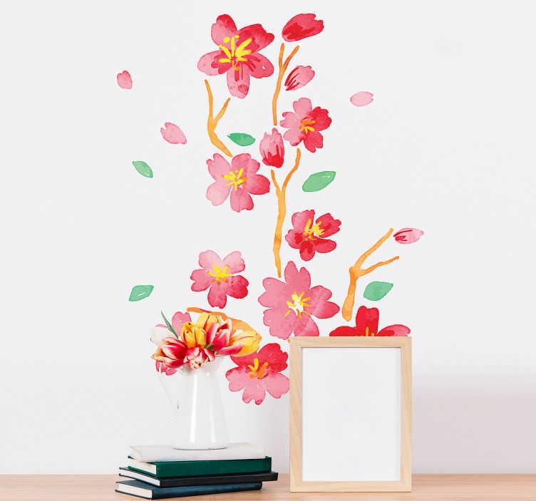 TenStickers. Naklejka na ścianę gałązka japońskiego kwiatu wiśni. Naklejka ścienna inspirowana orientalną kulturą, przedstawiająca gałązkę japońskiego kwiatu wiśni. Idealna dekoracja, żeby ożywić wygląd pomieszczenia i dodać mu więcej kolorów! Przy zakupach za ponad 150 zł – wysyłka gratis!