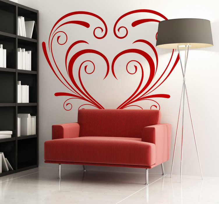 TenStickers. Symmetrical Ornamental Floral Heart Wall Sticker. An elegant design illustration a symmetrical floral heart from our collection of heart stickers ideal for those looking for a romantic decal!