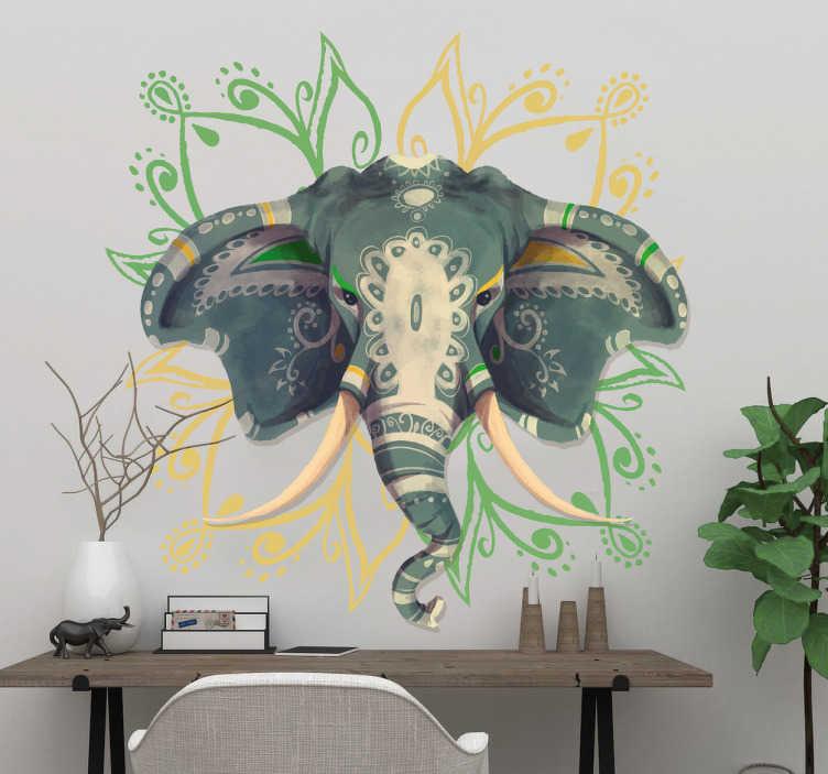 TenVinilo. Vinilo mándala elefante. Murales y vinilos originales con un dibujo de inspiración hindú y un mandala floral en la parte de detrás.