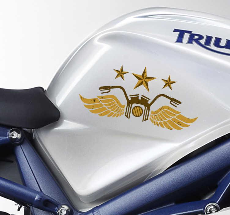 TenStickers. Stickers moto vintage. Sticker pour véhicule de moto vintage, accompagnée d'étoiles et d'ailes. Cet autocollant original est parfait pour décorez votre moto, autres véhicules ou bien même vos accessoires du quotidien.