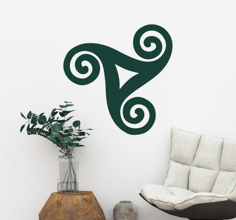 TenStickers. Sticker triskel celte. Décorez votre intérieur grâce à cet autocollant celte de triskel. Ce sticker original apportera une touche différente à votre intérieur. Ce symbole, qui est sensé représenté trois jambes liées, vous apportera bonheur et chance.