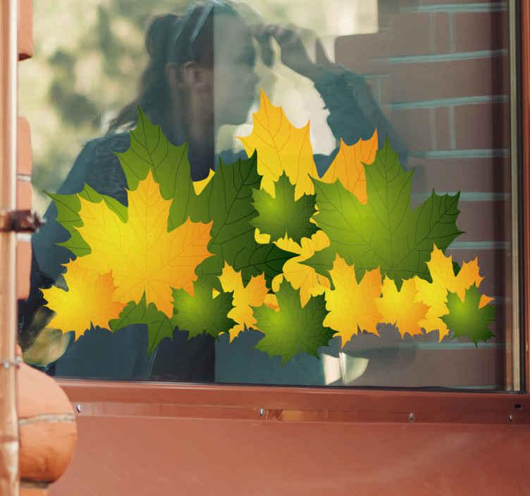 Tenstickers. Gul og grønn autum forlater klistremerke. Business tegn - med ankomsten av høsten kommer kulde og vind, mange trær mister bladene sine. Få høstens følelse med dette vinduet på butikkvinduet av noen fallende gule og brune blader som er perfekte for å vise høsten din i butikken.