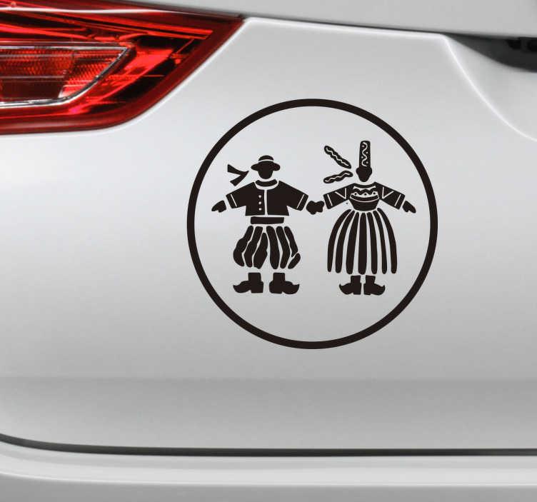 TenStickers. Autocollant voiture breton. Découvrez notre autocollant pour voiture breton. Grâce à ce sticker original vous pourrez signaler aux autres conducteurs votre amour pour la Bretagne, avec ce couple en tenue traditionnelle bretonne. Vous pouvez choisir la taille du sticker en fonction de vos besoins.