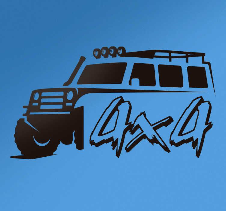 TenStickers. Naklejka na samochód 4x4. Naklejka na samochody, przedstawiająca auto 4x4. Idealna ozdoba, żeby ozdobić Twój pojazd! Wyprzedaż się kończy – nie czekaj, zamów taniej teraz!