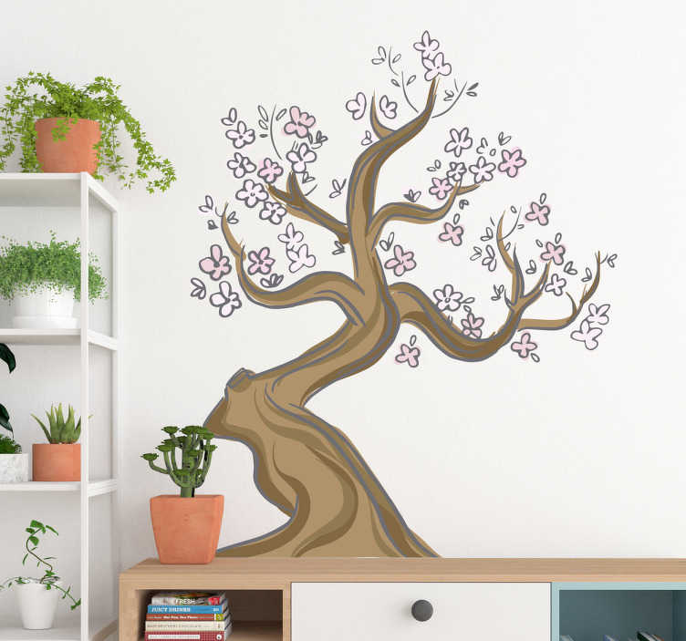 TenStickers. Wall sticker sakura cherry blossom. The design of this sticker consists of a cherry blossom tree in animated style. The design is made into calm and lovely shades of brown and pink.
