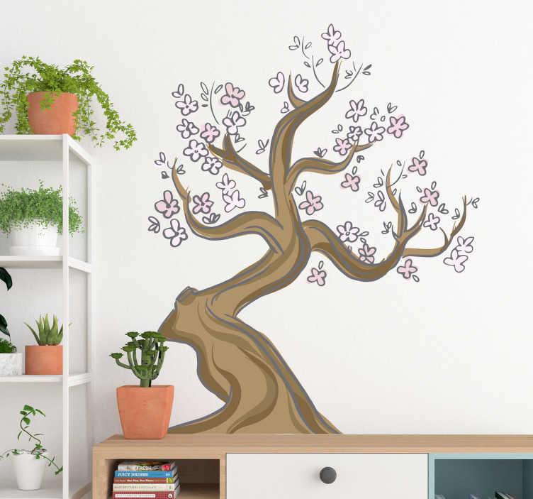 TenVinilo. Vinilo almendro japonés. Vinilos para pared con una bonita ilustración de un árbol de inspiración oriental, ideal para darle vida y color a cualquier estancia de tu casa.