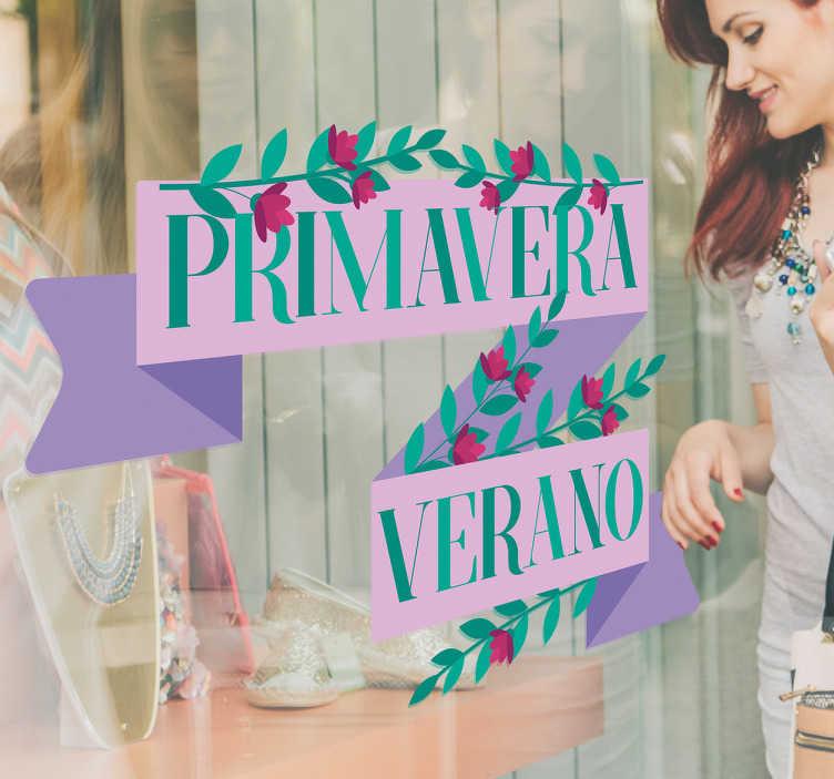 TenVinilo. Vinilo campaña primavera verano. Vinilos para escaparates de tiendas que deseen promocionar su colección de productos para las estaciones de primavera y verano.