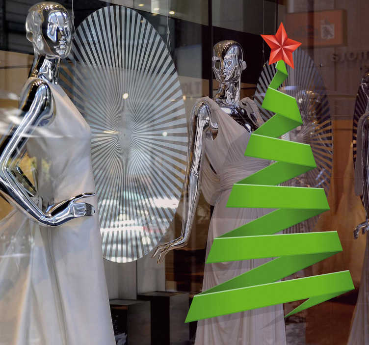 TenVinilo. Vinilo decorativo árbol de navidad. Adorna tu negocio con un abeto de navidad bonito y curioso. Éste Adhesivo hará que sientas la llegada de las fiestas.