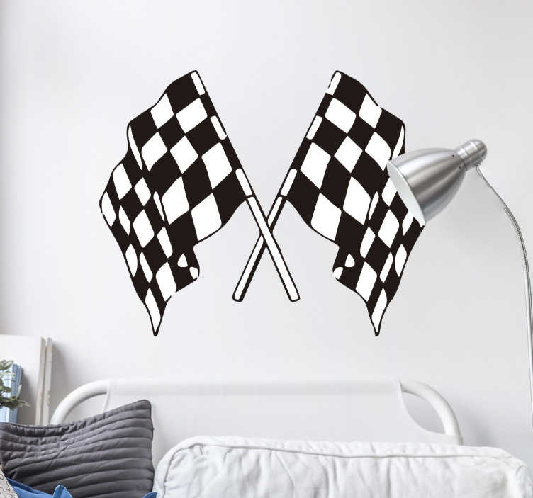 TenVinilo. Vinilo decorativo banderas de carrera. Vinilos murales con el dibujo de dos clásicas bandera de competición de motor, ideales para decorar el cuarto de los más jóvenes.